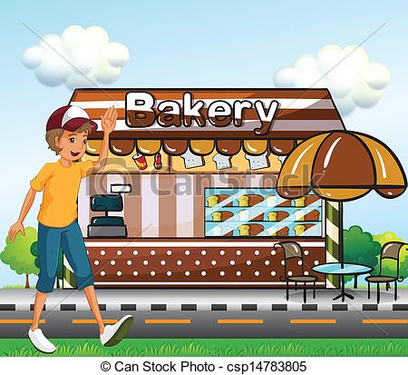 Vector Clipart of A boy walking across the bakery.
