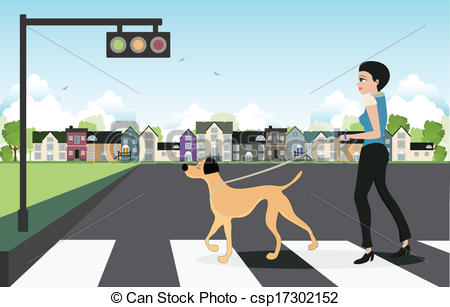 Clipart Vector of Leash dog across the street..