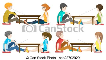 Vector Illustration of Faceless people sitting across each other.
