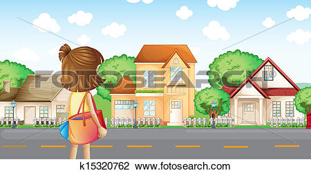 Clipart of A girl with a bag across the neighborhood k15320762.