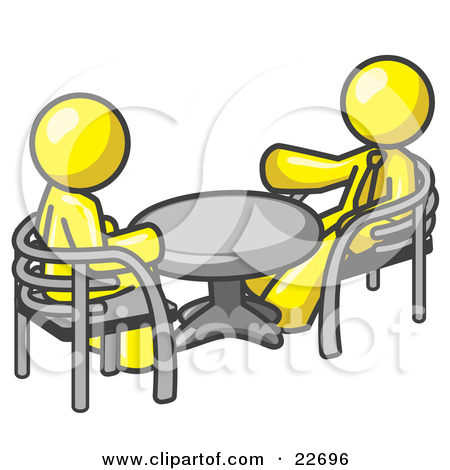 Clipart Illustration of Two Yellow Business Men Sitting Across.