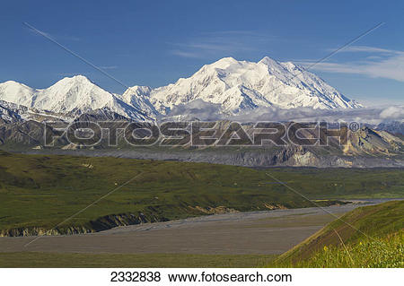Pictures of View of Mt. McKinley on a sunny day across the.
