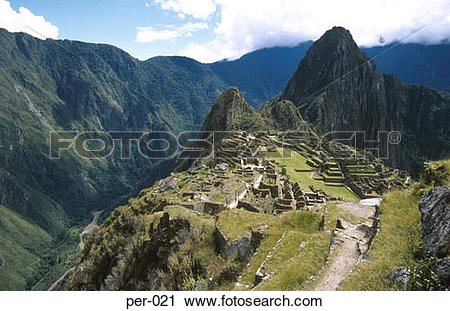 Stock Photography of View Across Machu Picchu Inca Site Peru per.