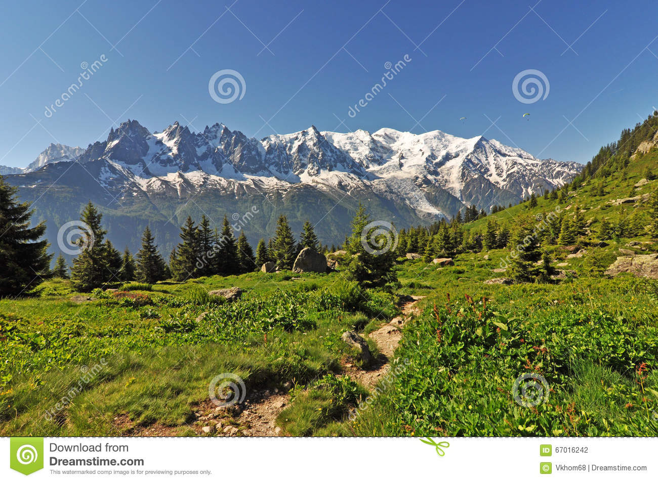 View To Mont Blanc, Alps Mountain, France Stock Photo.