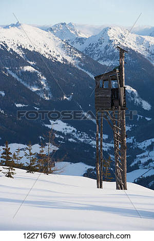 Stock Photograph of A watch tower at the top of a ski piste with.