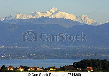 Stock Photographs of View across the Lac Leman at the snow.