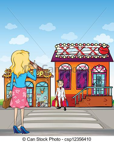 Vector Clip Art of A girl making a sign to wait.