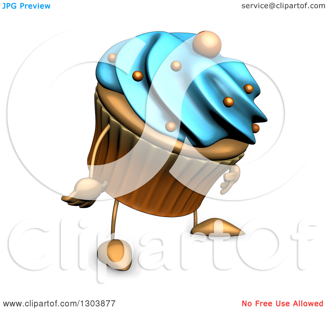 Clipart of a 3d Sad Acrylic Blue Frosted Cupcake Character Facing.