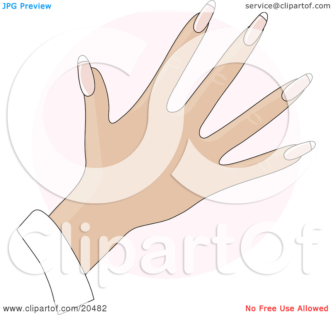 Clipart Illustration of a Woman's Hand With Rounded Gel Acrylic.