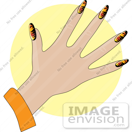 Clip Art Graphic of a Lady's Hand With Flame Patterned Gel Acrylic.