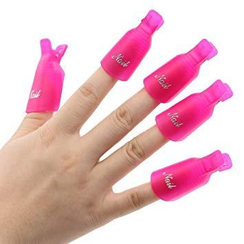 10Pcs Plastic Acrylic Nail Art Soak Off Clip Cap UV Gel Polish Remover Wrap  Nail Tool (Rose.