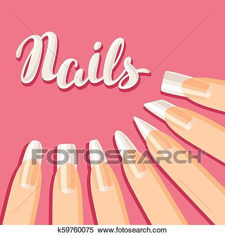 Acrylic nail shapes set. Clipart.