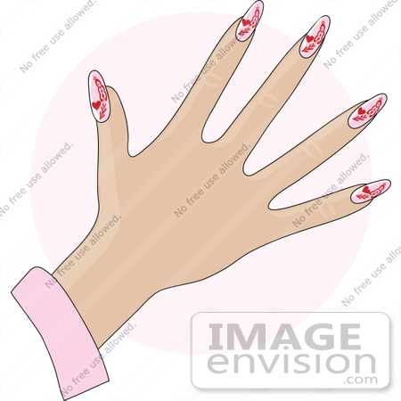 Clip Art Graphic of a Lady's Hand With Gel Red Hearts On Pink Gel.