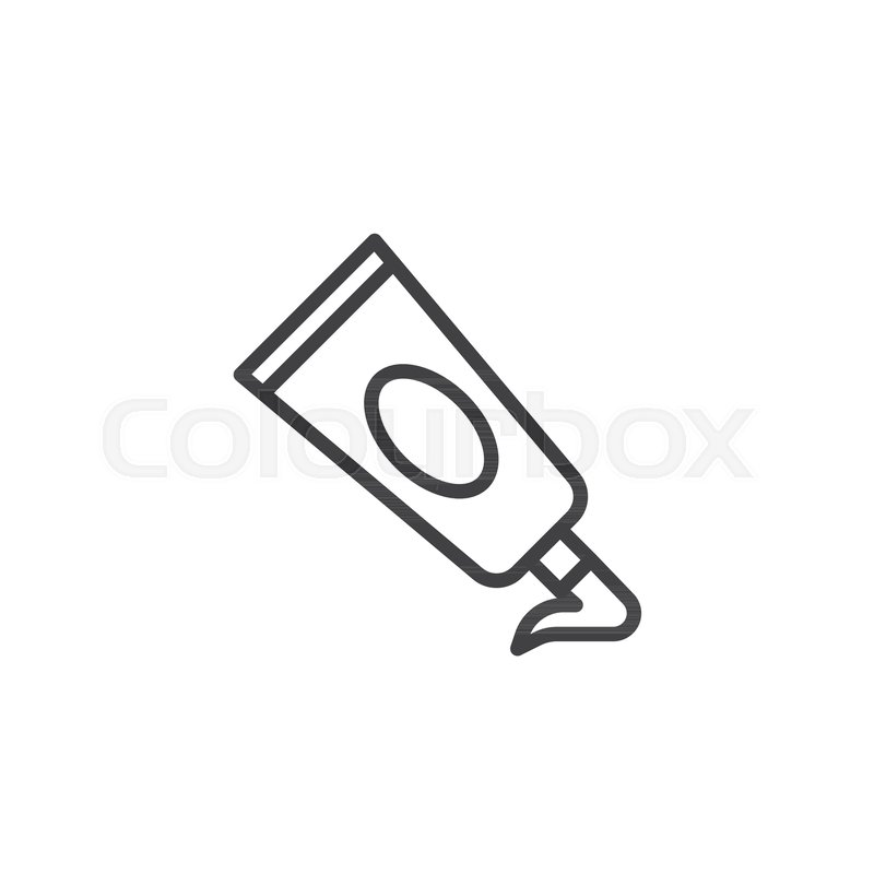 Acrylic paint tube line icon, outline.