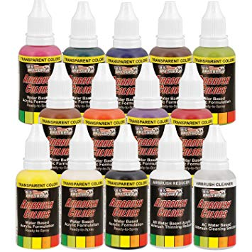 US Art Supply 12 Color Acrylic Transparent Colors Airbrush, Leather & Shoe  Paint Set with Reducer & Cleaner, 1 oz. Bottles.