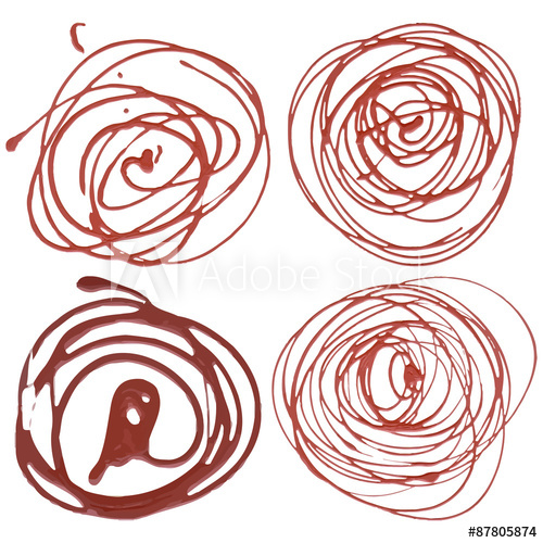 Set of 4 squeezed red and brown acrylic paints in circle.