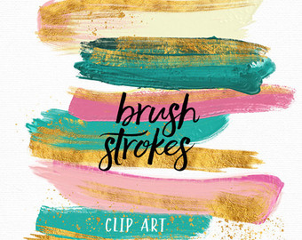 Pastel Brush Strokes Clip Art Hand Painted Summer Sherbet.