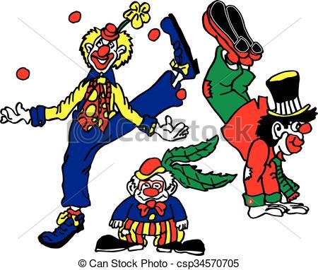 Vector Clipart of 3 Clowns Circus Act.