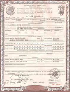 This is Mexican Birth Certificate PSD (Photoshop) Template.