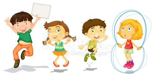Active kids playing Clipart Image.