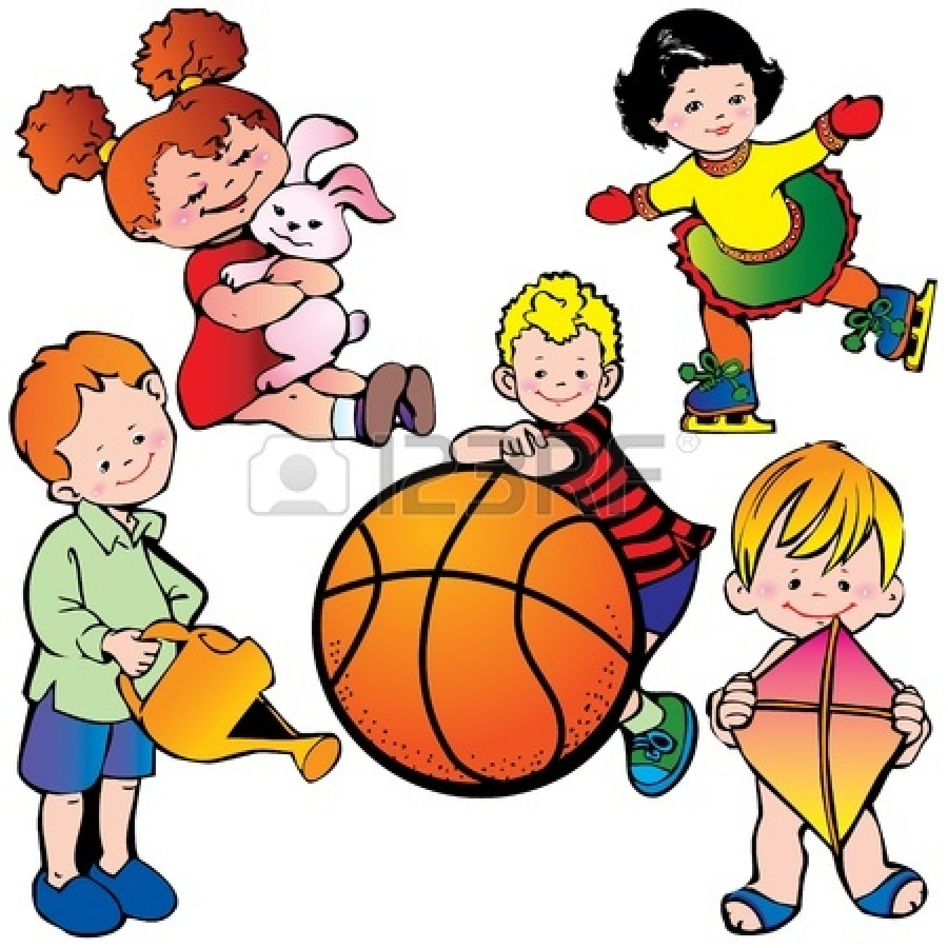 Kids Being Active Clipart.