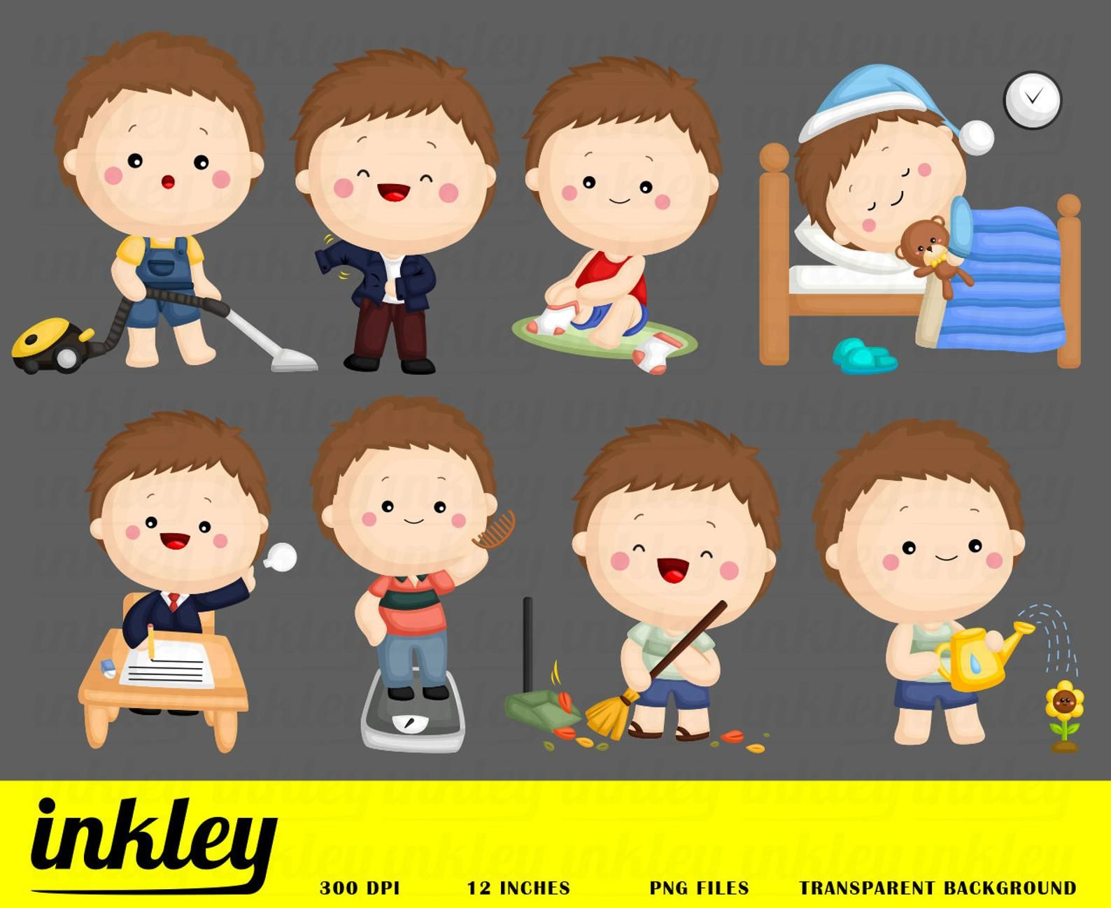 Activity Clipart, Cute Boy Clipart, Sleeping Tooth Clipart.