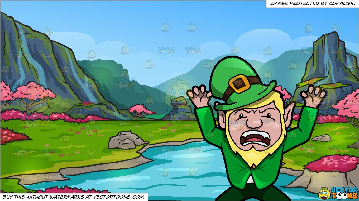 A Leprechaun Acting Up To Scare People and A Beautiful Cherry Blossoms  Valley Background.
