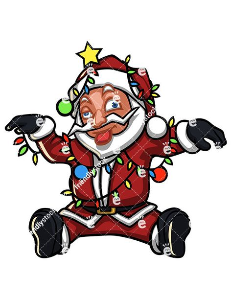 Dazed Santa Claus Tangled In Christmas Lights Cartoon.