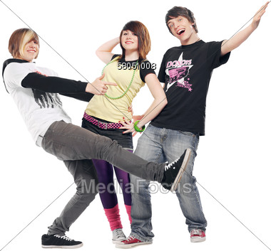 Stock Photo Three Young Teens Acting Silly Clipart.