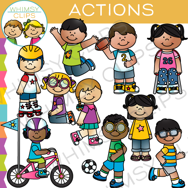 Kids in action clip art , Images & Illustrations.