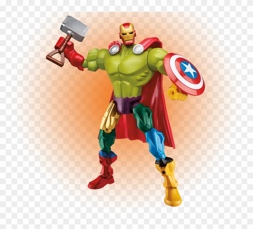 Five Avengers Mashed Into One Action Figure For Age Clipart.