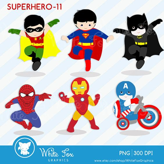 Super Hero Clipart / Buy 2 Get 1 FREE / by WhiteFoxGraphics, $3.95.