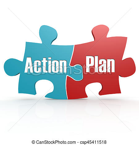 Blue and red with Action Plan puzzle.