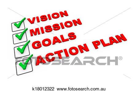 3d business action plan checklist Clip Art.