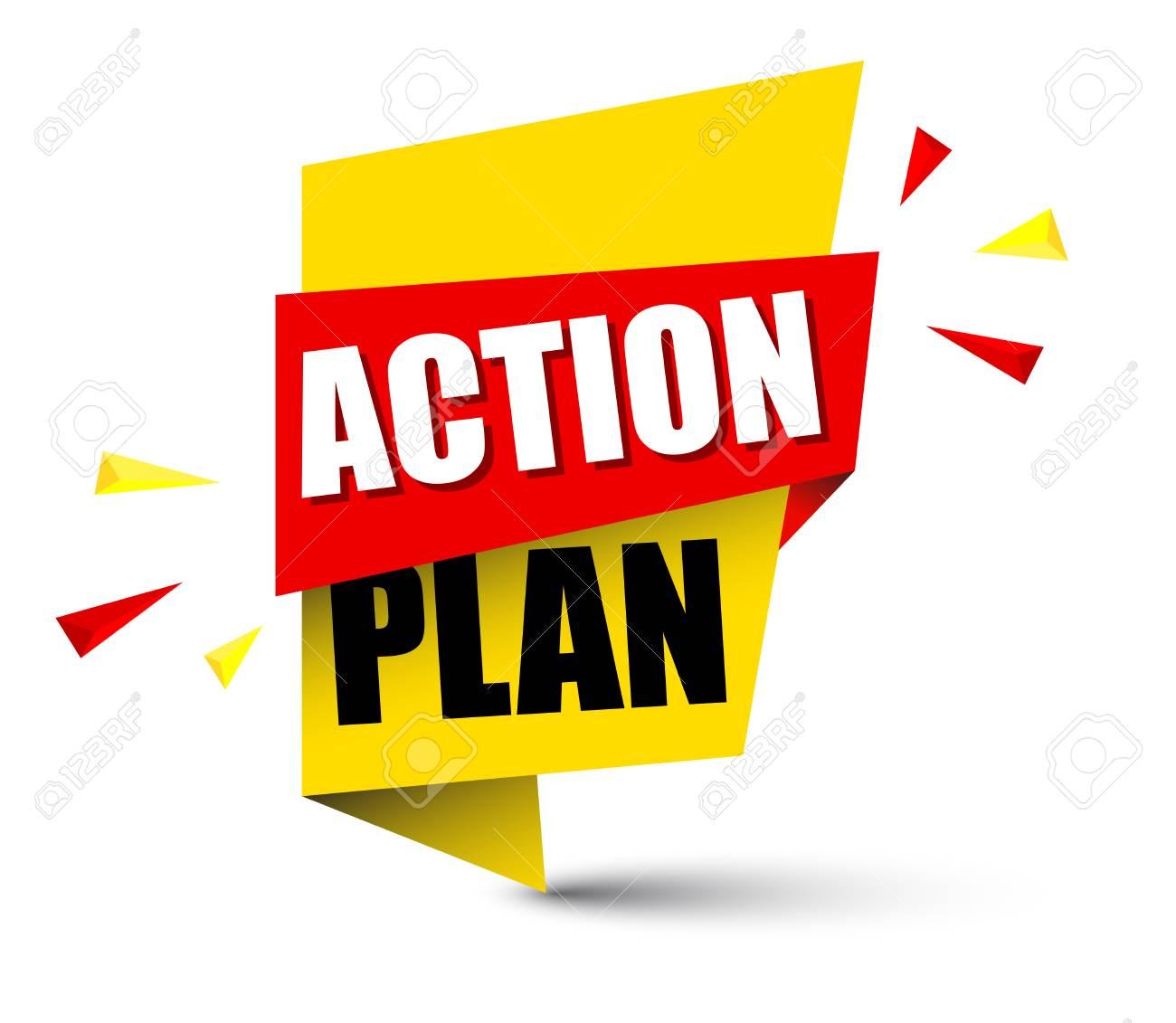 action plan banner in yellow and orange, Vector illustration..