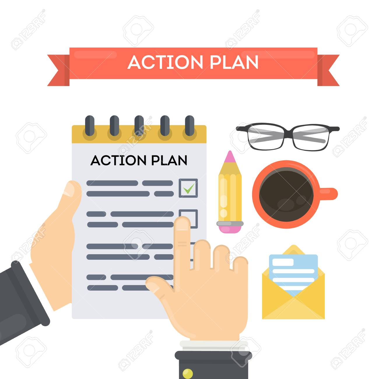 Action plan concept illustration. Businessman with notebook,...