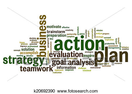 Action plan word cloud Clipart.