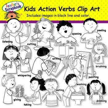 Kids Action Verbs Clip Art BUNDLE.