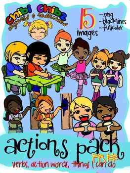 ACTIONS CLIPART FREEBIE PACK {Action Words, Verbs, Things I.