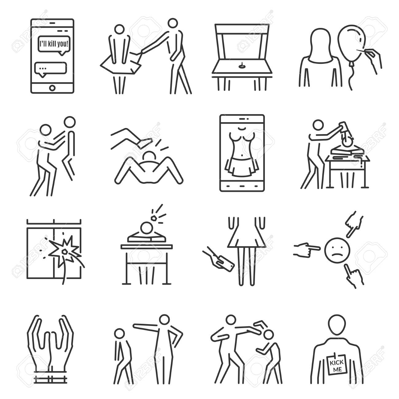 Bullying line icon set. Aggressive behavior, use of force, threat,...