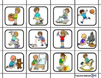 Action Words File Folder Matching Task for Autism.