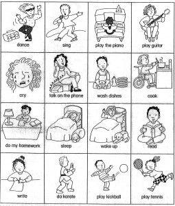 esl verb cards (actions) for beginner gesture game.