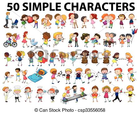 Clipart Vector of People doing different actions illustration.