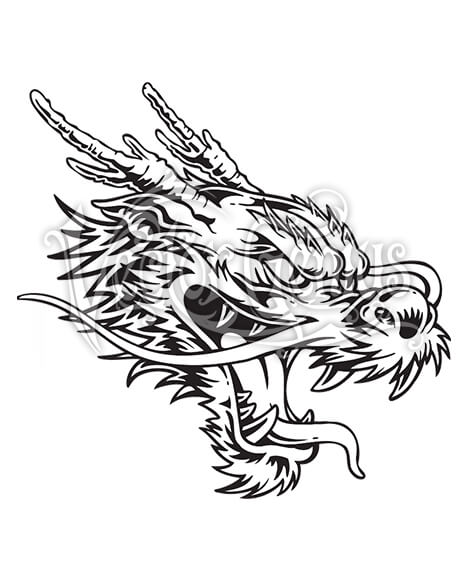 Action Chinese Dragon Tattoo ClipArt.