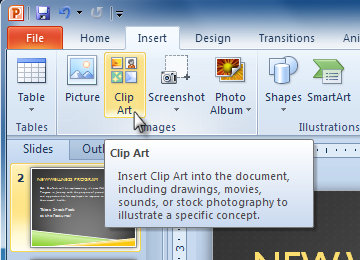 How to activate clipart in powerpoint.