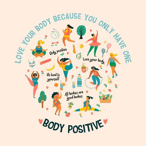 Body positive. Happy plus size girls and active healthy.