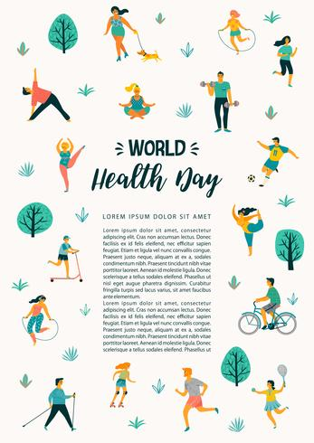 World Health Day. Vector illustration of people leading an.