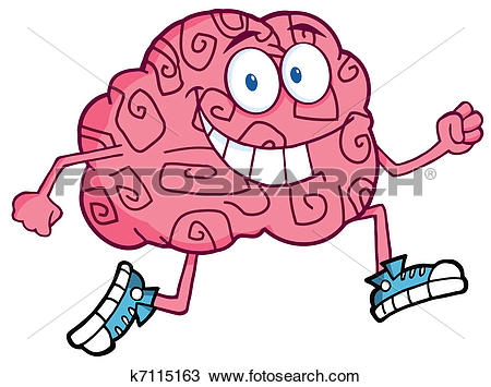 Clipart of Brain Character Jogging k7115163.