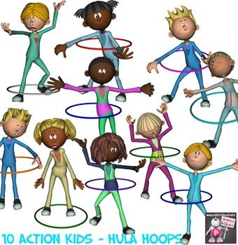 Active Kids Hula Hoops Color and Black & White Clip Art.