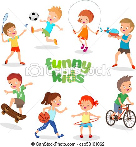 Uniformed happy kids playing sports. Active children vector characters.